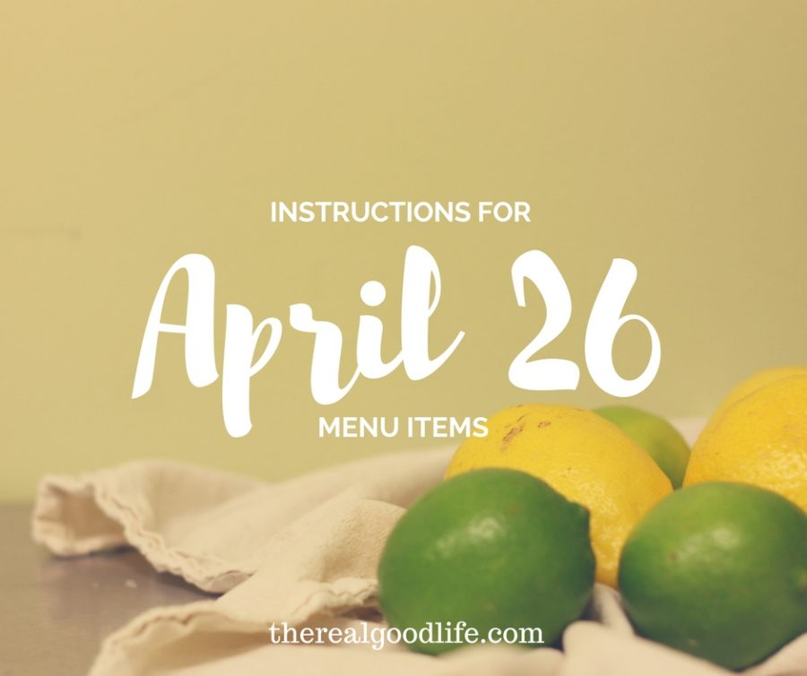 Instructions for April 26th Delivery