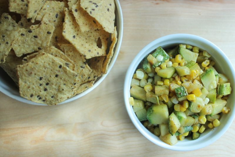 Zucchini and corn relish dip