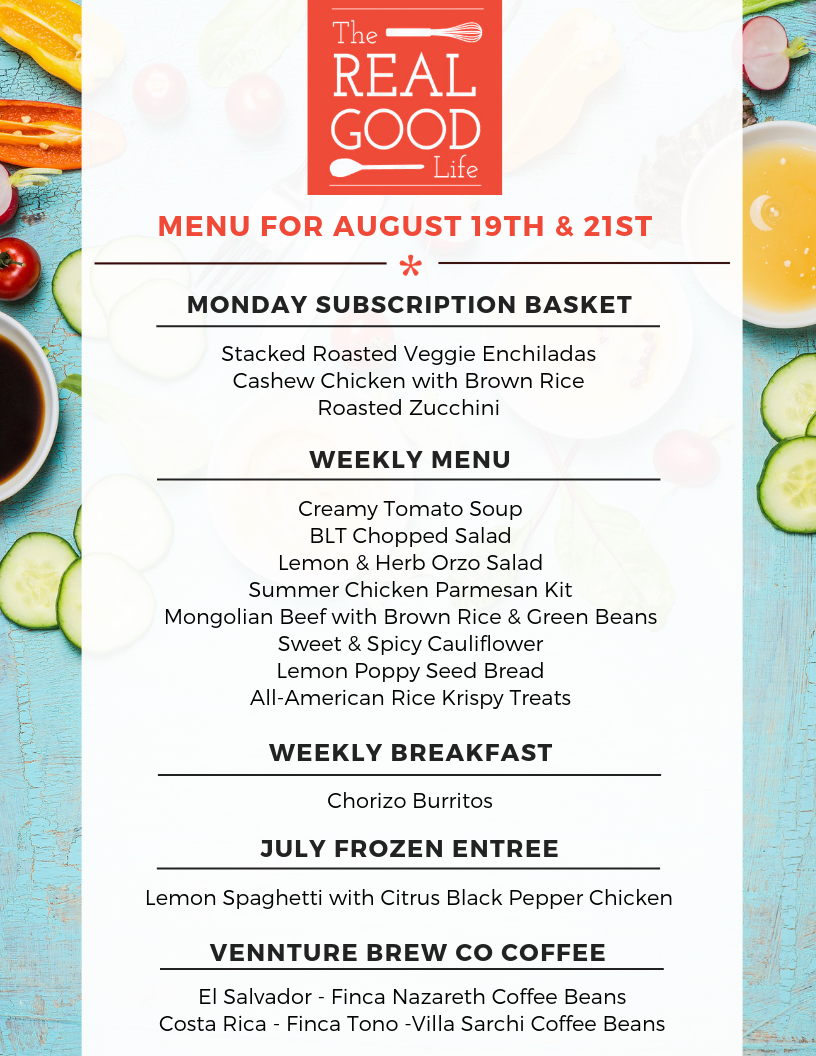 Menu Aug 19th and 21st