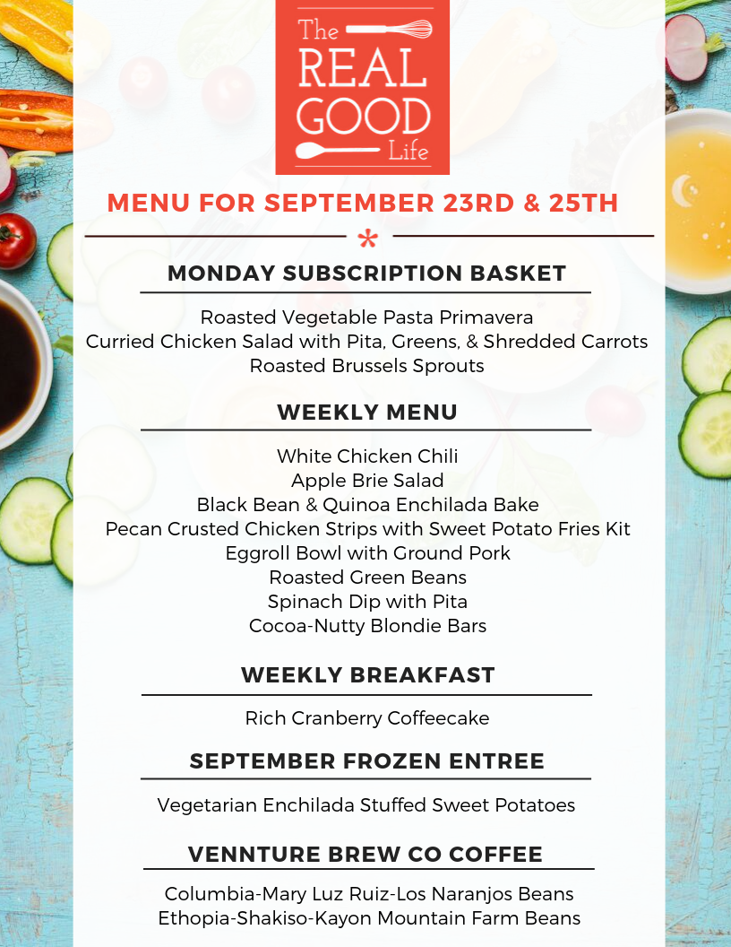 Menu Sept 23rd and 25th