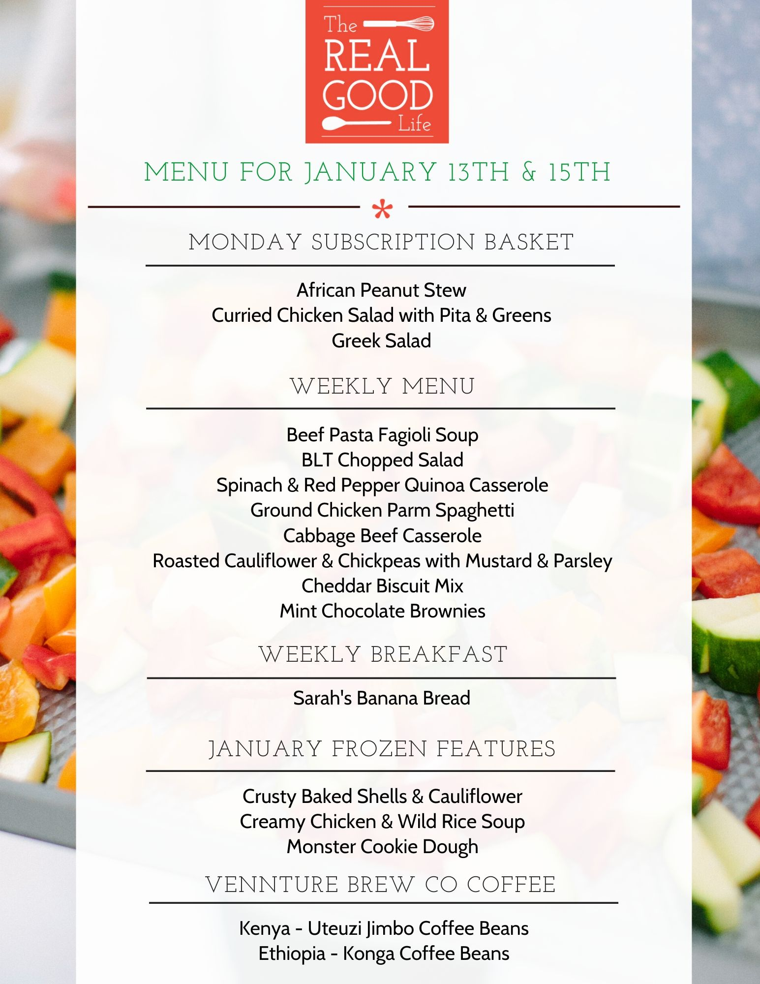 Menu for January 13th and 15th