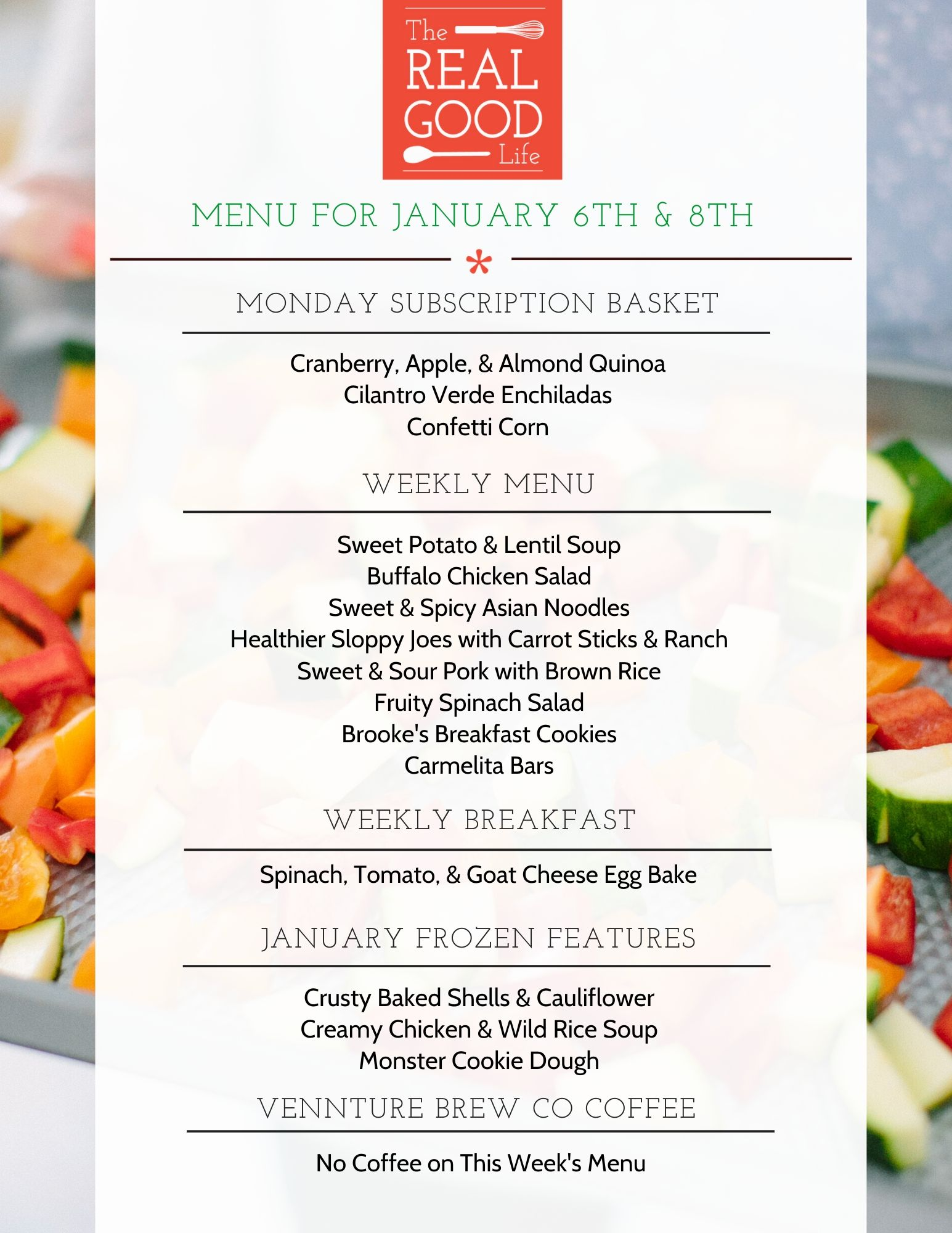 Menu for January 6th and 8th