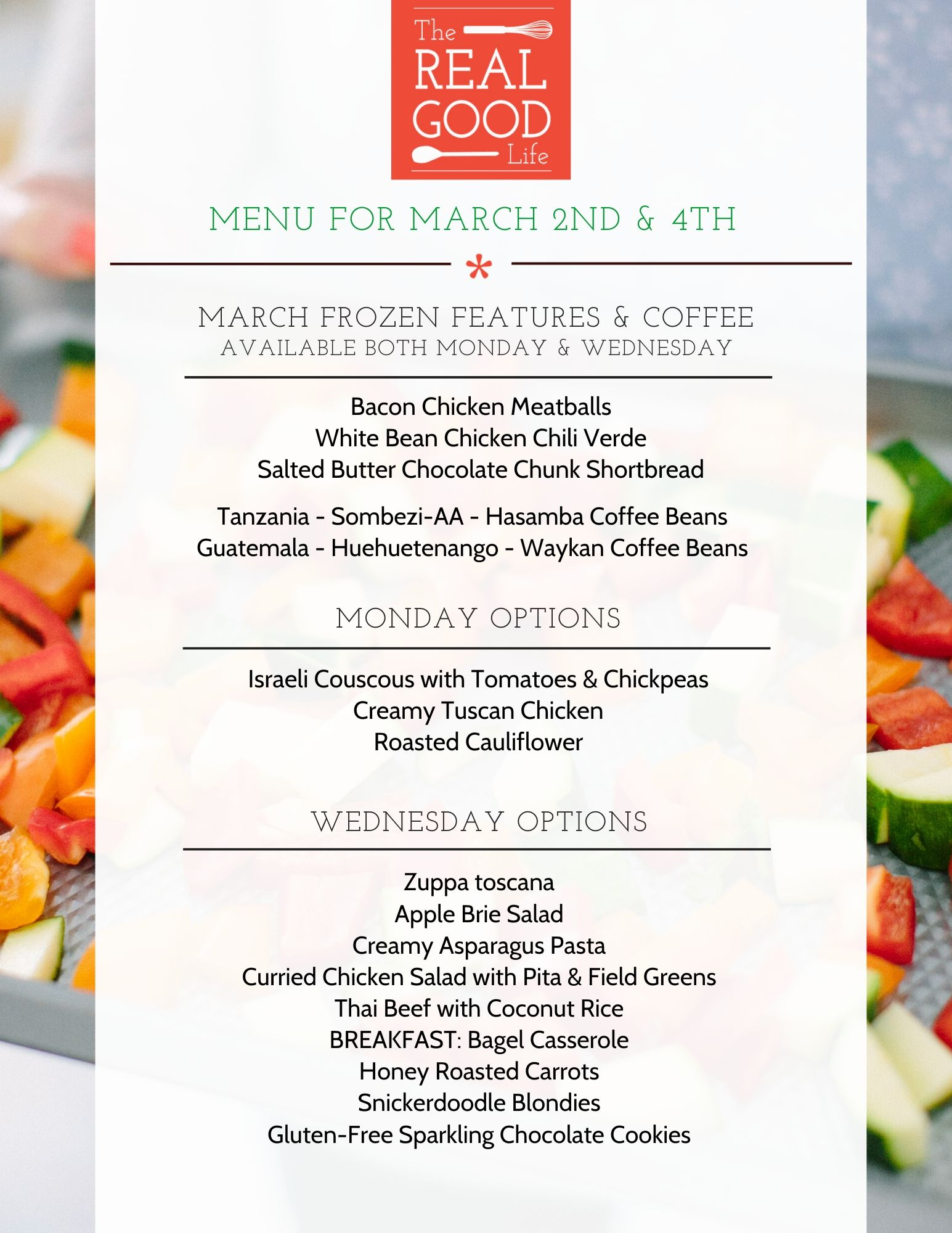 March 2nd and 4th Menu