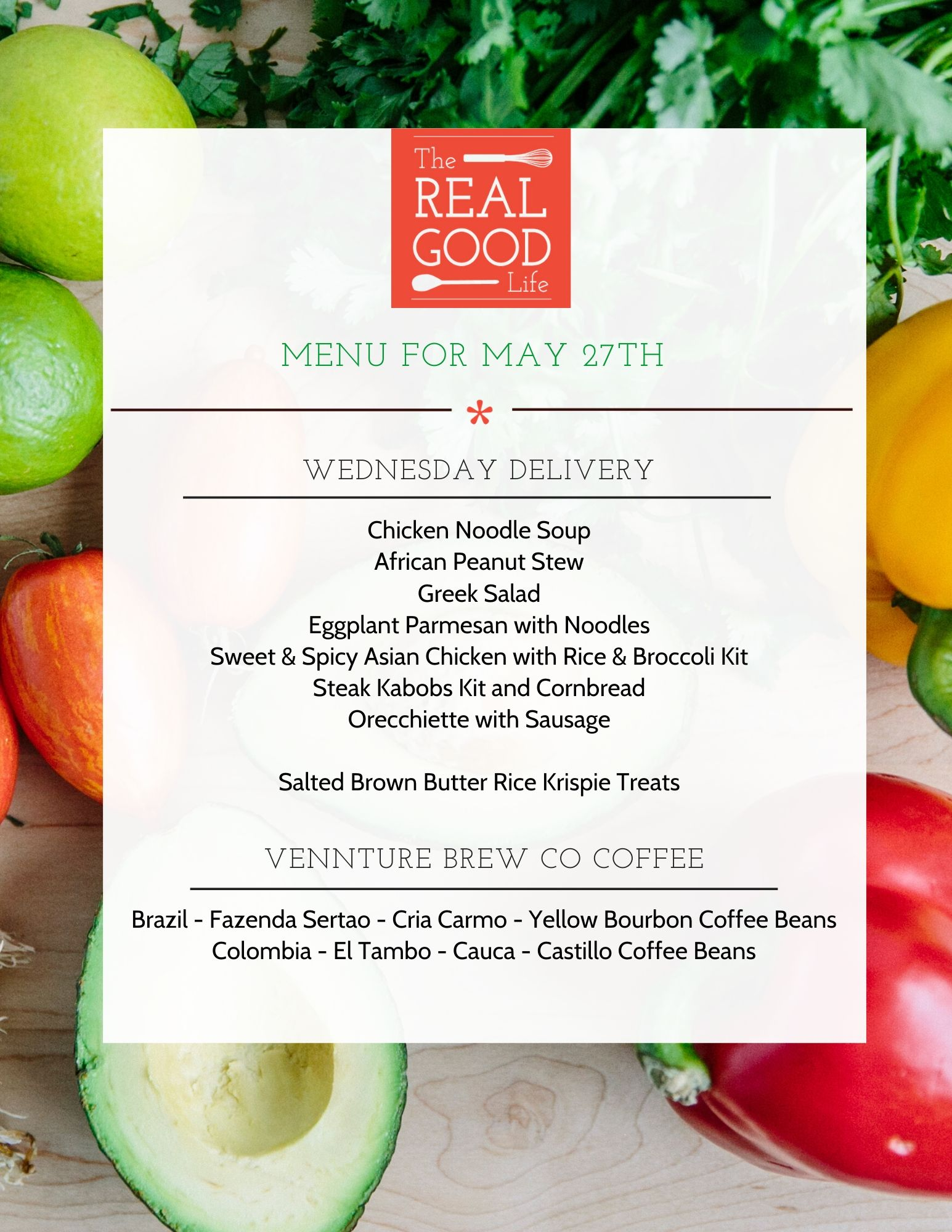 May 27th Menu
