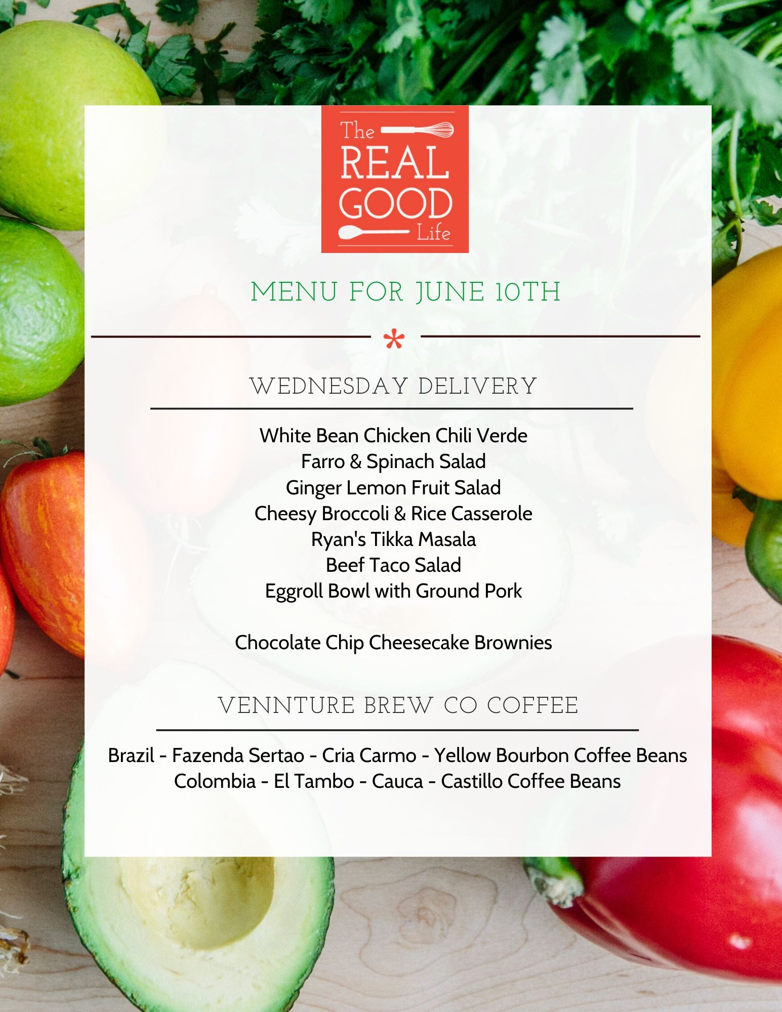 June 10th Menu