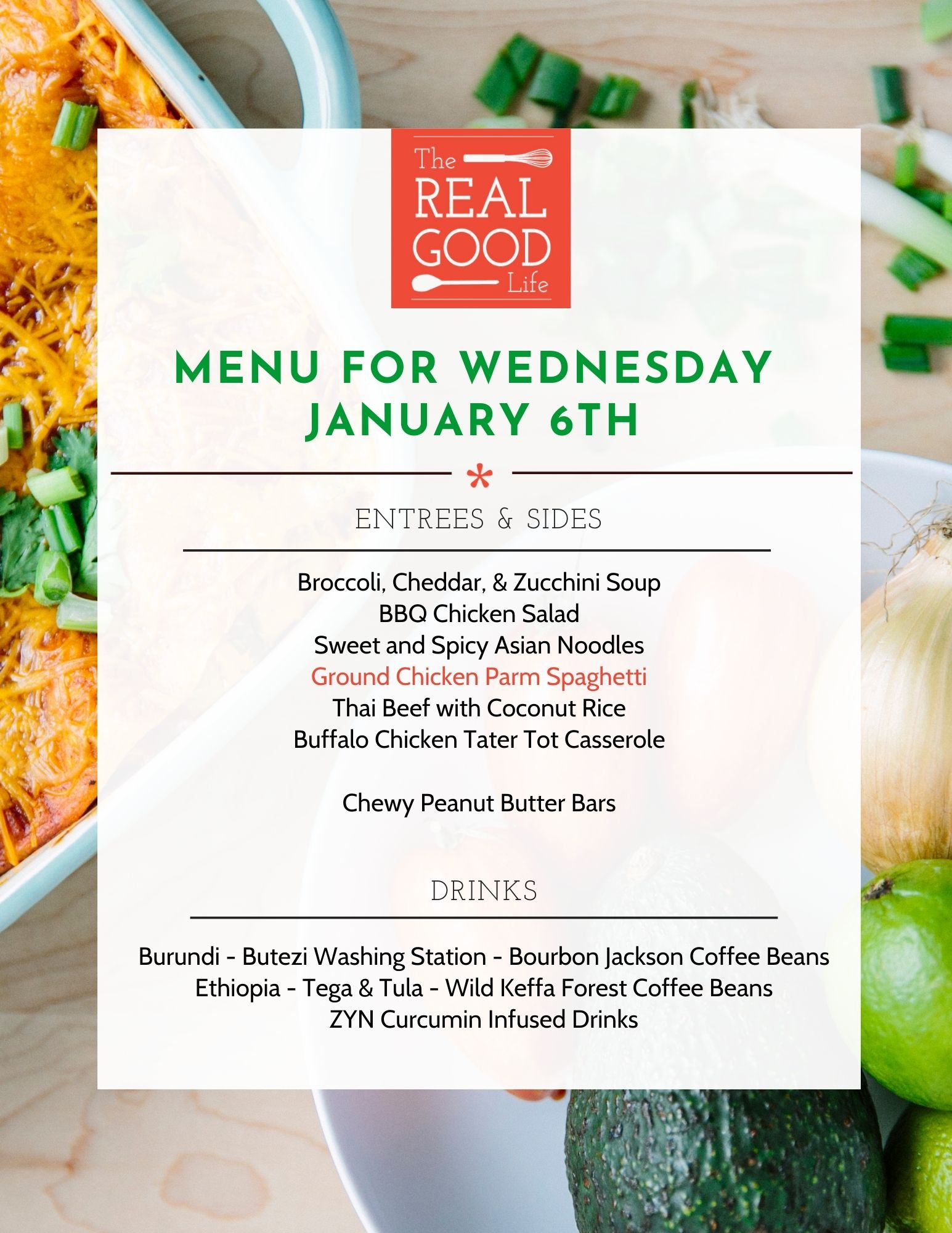 Jan 6th Menu
