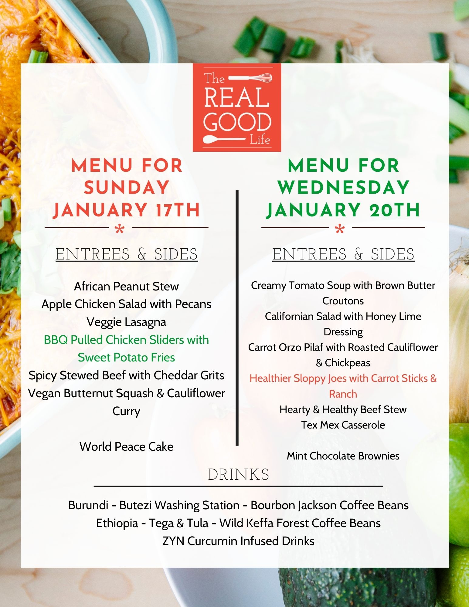 Jan 17 and 20 Menu