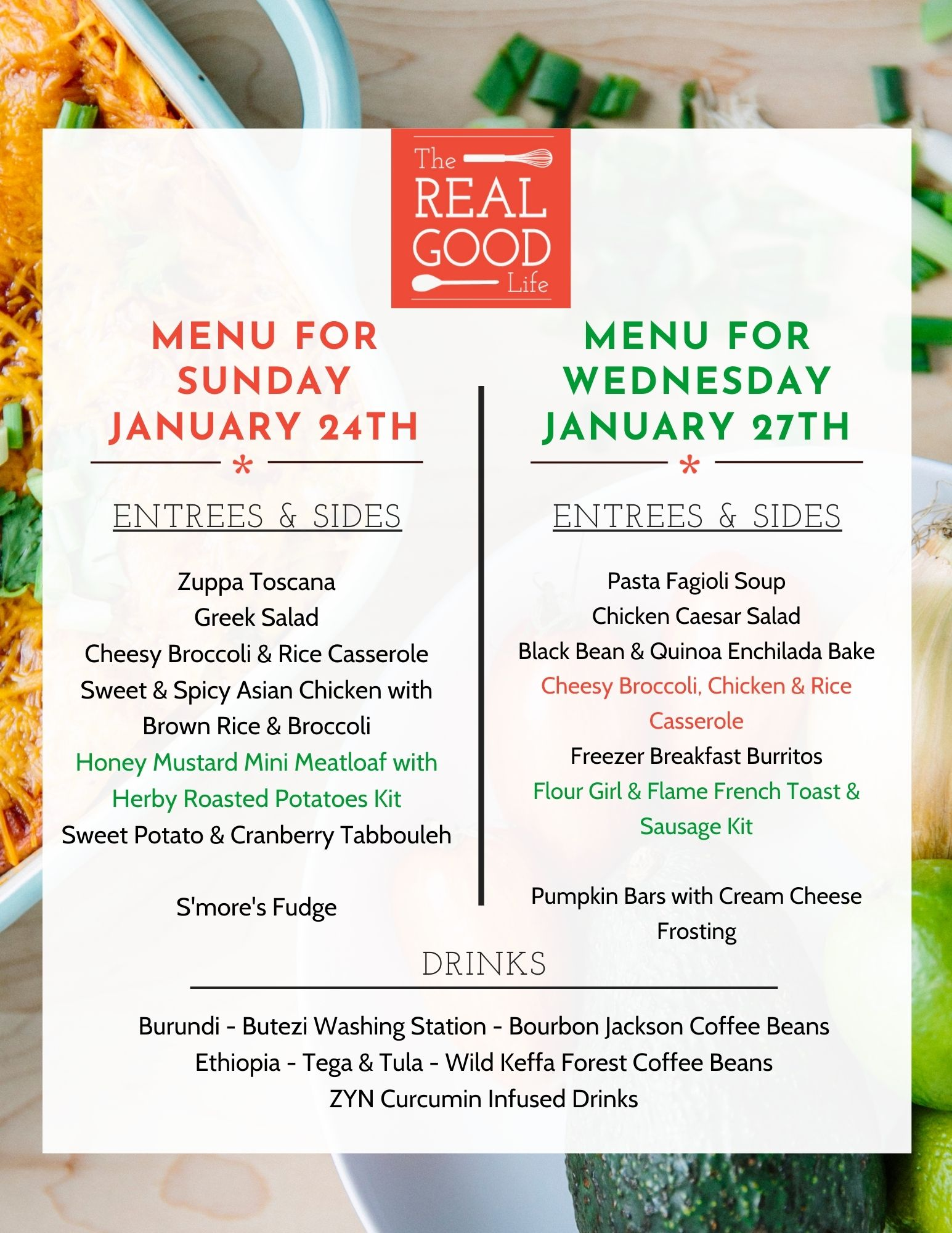 Jan 24 and 27 menu