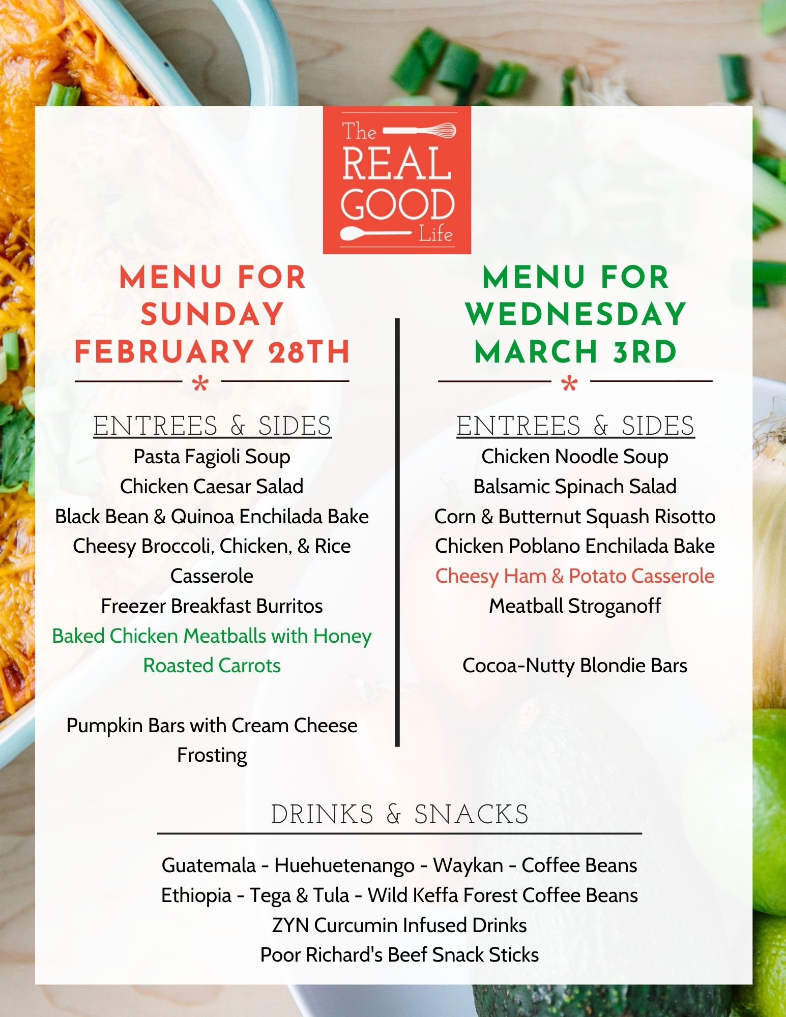 Feb 28 and March 3 Menu